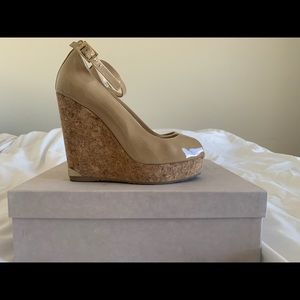 Jimmy Choo patent nude wedge